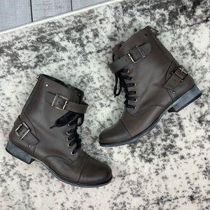 DV Dolce Vita leather lace up buckled boots